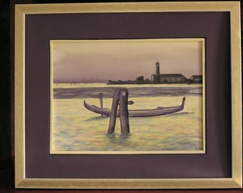 Grey Venice watercolor painting purple and yellow