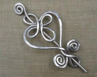 Celtic Heart Aluminum Shawl Pin, Sweater Brooch, Scarf Pin
