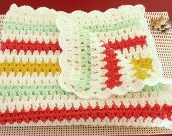 Multicolored crochet baby blanket