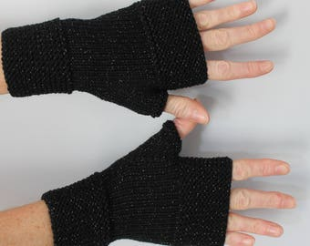 Black fingerless gloves hand knitted woman with glitter gold