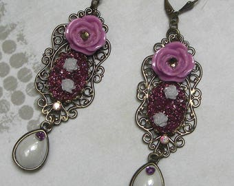Earrings of yesteryear purple flower
