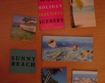 Island Beach holiday magnet set