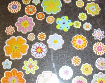 sheet of stickers of various flowers