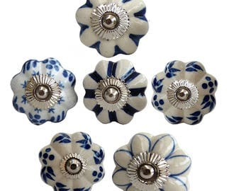 Furniture knobs set of 6 blue-white-cream ceramic
