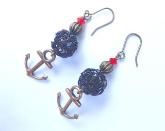 Retro vintage rockabilly bronze anchor earrings red and black
