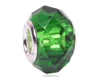 set 2 bead round, glass, Green - European charm 14 * 8 * 5 mm