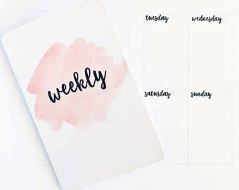 SUNDAY Start Undated Weekly POCKET TN Printable Insert WO2P