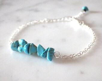 "Silver plated bracelet and semi-precious Gemstones (adjustable) Turquoise - Bracelet ""Arizona"" collection."