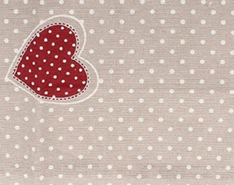 Cotton printed red hearts - coupon 30 x 90 cm - Ref 13020096