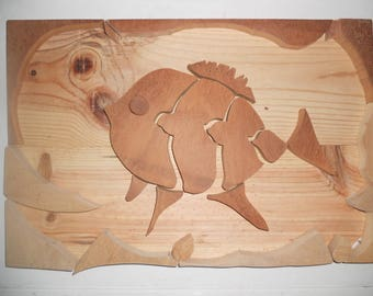 """Table """"In his world wooden wooden fish"""""""