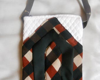 Wristlet with patchwork silk ties