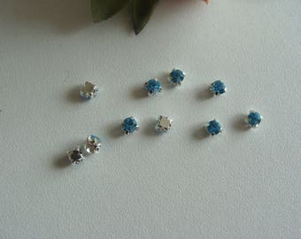 Set of 10 beads kitten sewing 3 * 3 mm faceted sky blue rhinestones