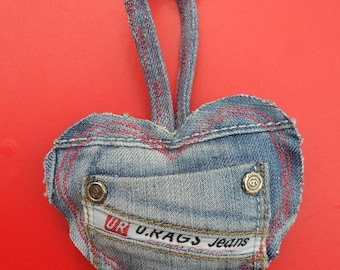 KEY heart made of recycled denim