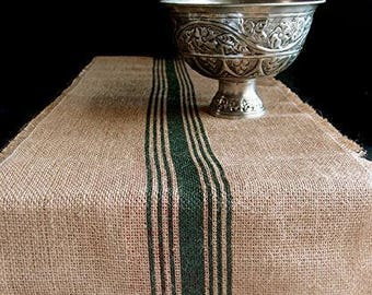 "12.5"" Inches X 108 Inches GREEN Burlap Table Runner with Stripes"