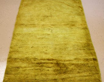 """Hand-made Moroccan/Tulu Rug, Lime Green, 4 feet 4 inches by 7 feet 4 inches (4'4""""x7'4"""")"""
