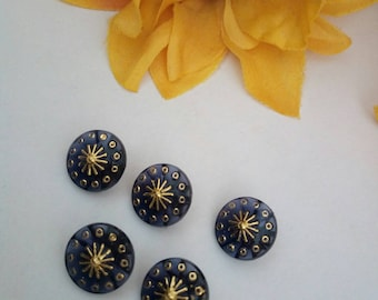 set of 5 buttons jewelry gold black