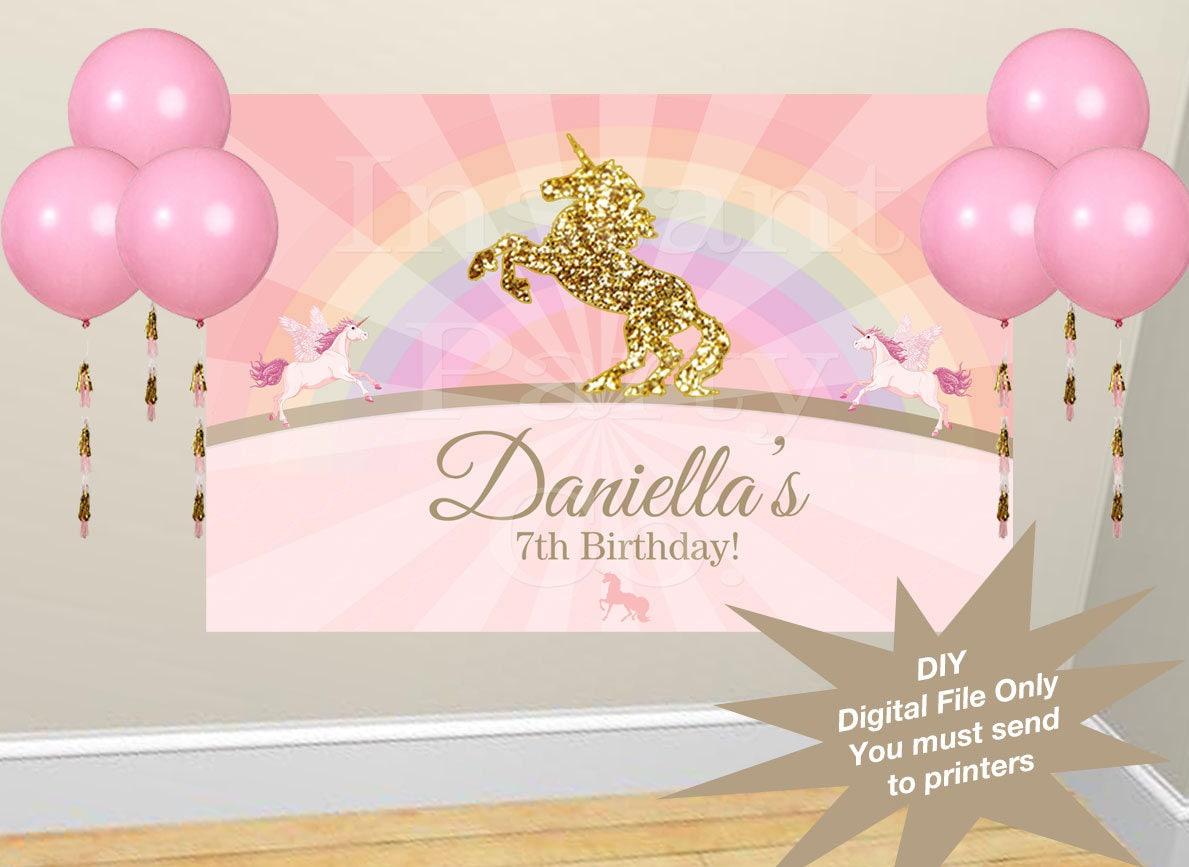 DIY Unicorn Birthday Backdrop Unicorn Party Backdrop