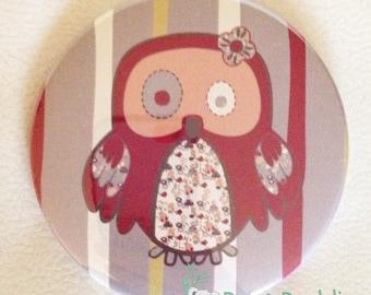 OWL Pocket mirror Fuchsia and purple