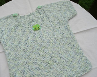 Sailor 6 cotton/acrylic, white Heather blue/green, short sleeves