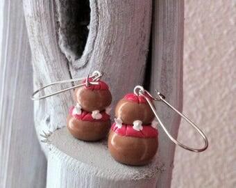 Religious earrings raspberry pastry inspiration child