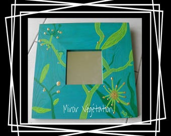 Abstract acrylic green and blue flowers wooden mirror