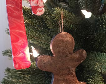 Gingerbread Man and Candy Cane Ornament Set