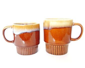 FREE DELIVERY! Vintage 1970s Brown & Cream Drip Glaze Stacking Mugs Mismatched Duo Made in China