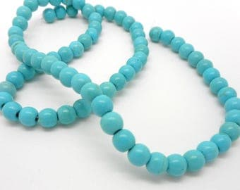 Set of 20 8mm turquoise glass beads