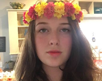 Hot pink and yellow flower crown