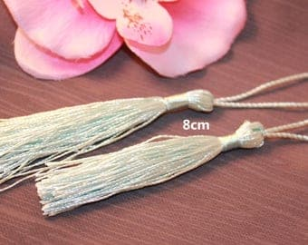 3 large tassels 8 cm - light blue - creating jewelry wire-