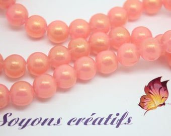 Set of 20 glass beads round 10mm Rose - bright jewelry - SC64954 creation.