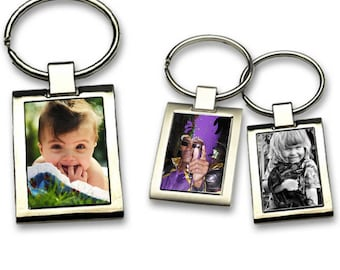 Personalized with 1 sided photo metal Keyring
