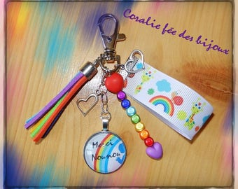 lucky charm or thank you bag charm Keyring nanny personalize Rainbow rainbow