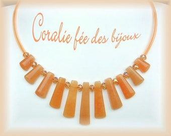 Necklace Choker natural stones, Crystal and orange pvc tube beads