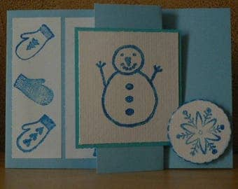 card winter Christmas snowman greeting or snow