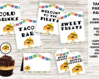 Taco Birthday Decor Instant Download Signs Fiesta Cupcake Toppers Favor Tags Food Labels Digital BUNDLE