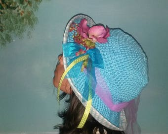 Hat girl crochet turquoise cotton and gingham 3series