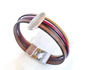 Leather red camel Cuff Bracelet
