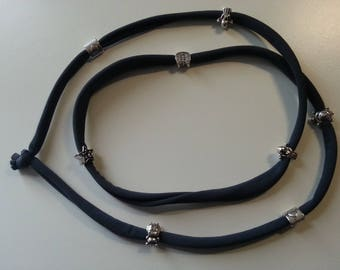 Necklace Bracelet strap anthracite grey with applications