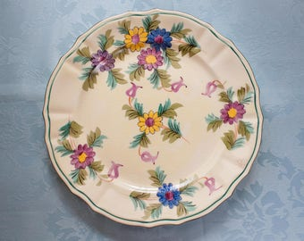 "Mikori Ware Hand Painted Floral Pattern 9"" Dinner Plate Made in Japan"