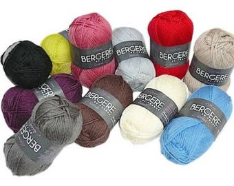 Idéal de Bergère de France, 40% laine peignée, 33 couleurs au choix, 50 grammes 125 mètres
