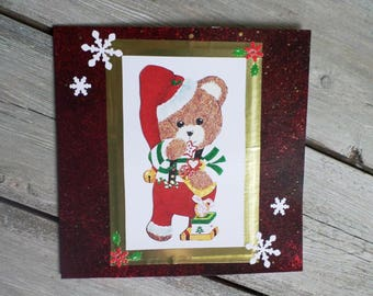 Dark red dual Pixie honey bear for Christmas