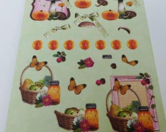 A4 image precut to assemble for a 3-d mushroom Butterfly pumpkin Apple PEAR