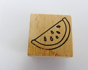 wooden stamp slice of watermelon square 3 cm