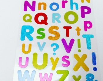 alphabet letter stickers and bright multicolored numbers