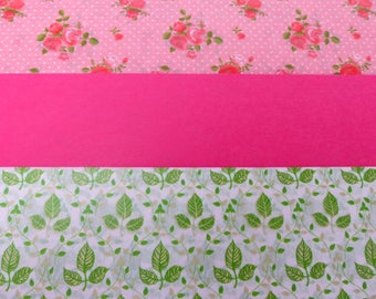 3 sheets of paper decopatch 40 X 60 cm pink green foliage and flower vintage