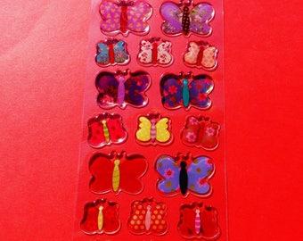 21 butterflies multicolor 3D raised epoxy stickers 2 sizes