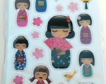 3D in RELIEF for computer STICKERS * KOKESHI * plank: 12.5 cm x 7,5 cm EAN 3045677575274