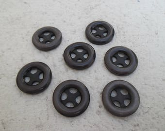 LOT 7 buttons 25 mm - Brown / BUTTONS / Brown buttons