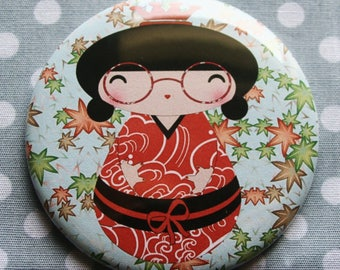 Magnet Kokeshi 'leaves Orange gray' floral and Asian spirit